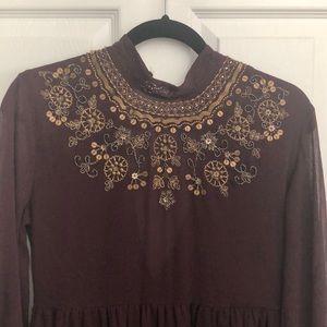 Burgundy Beaded Dress. Crochet detail. Never worn.